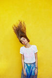 Attractive girl in an unusual skirt Royalty Free Stock Photos