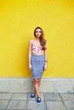 Attractive girl in an unusual skirt Stock Photo