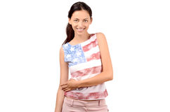 Attractive girl with USA flag on her blouse. Stock Images