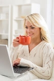 Attractive girl using laptop and having a cup of coffee Stock Image