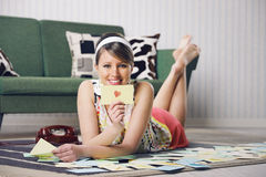 Beautiful woman with love letter Royalty Free Stock Photos