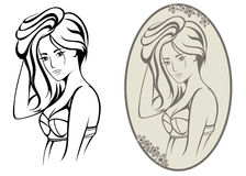 Attractive girl vector Royalty Free Stock Images