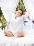 Attractive girl waking up Royalty Free Stock Photography
