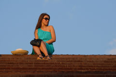 Attractive girl walking on staircase Royalty Free Stock Photography
