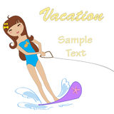 Attractive girl water skiing Royalty Free Stock Image