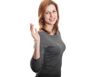 Attractive girl waves his hand Stock Image