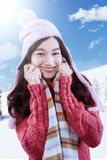 Attractive girl wearing knitted clothes Royalty Free Stock Photography