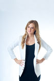 An Attractive Girl In White Jacket Stock Photo