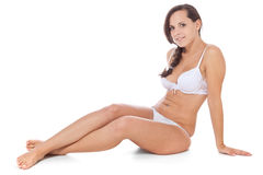 Attractive girl in white underwear Royalty Free Stock Images
