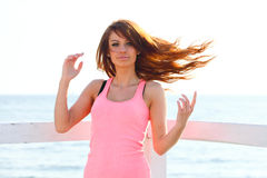 Attractive girl wind in hair Young woman Royalty Free Stock Photography