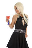 Attractive girl with wineglass in hand. Isolated on white Stock Photo