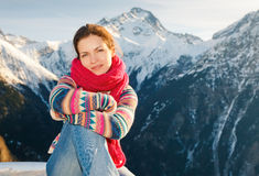 Attractive girl in winter Alps Royalty Free Stock Image