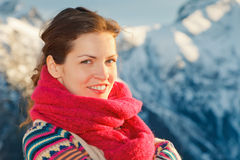 Attractive girl in winter Alps Royalty Free Stock Photos
