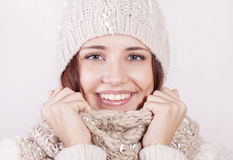 Attractive girl in winter clothes. Stock Images