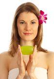 Attractive Girl With A Soap Bar Royalty Free Stock Photos
