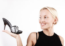 Attractive Girl. Woman And Shoes Stock Images
