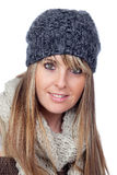 Attractive girl with with wool hat and scarf Royalty Free Stock Photography