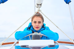 Attractive girl on a yacht Stock Photo
