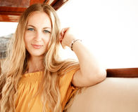 Attractive girl on a yacht Royalty Free Stock Photos