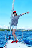 Attractive girl on a yacht Royalty Free Stock Image