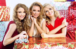 Attractive girlfriends with Christmas gifts Royalty Free Stock Image