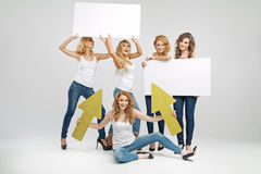 Attractive girlfriends holding empty boards Royalty Free Stock Images