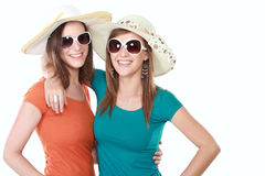 Attractive girlfriends in the summer day Royalty Free Stock Image
