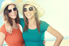 Attractive girlfriends in the summer day Royalty Free Stock Photography