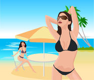 Attractive girls on beach. Vector illustration Stock Images