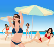 Attractive girls on beach. Vector illustration Royalty Free Stock Photo