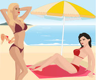 Attractive girls on beach. Vector illustration Royalty Free Stock Photos