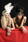 Attractive girls with  mask Stock Photos