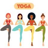 Girl Practicing Yoga - Hand Drawn Vector Illustration Set eps10 stock illustration