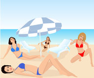 Attractive girls - vector. Attractive girls on exotic beach - vector Royalty Free Stock Photo