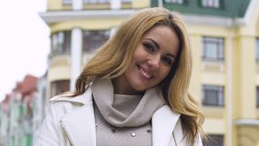 Attractive glamorous young lady smiling at camera skin and hair care cosmetology. Stock footage stock video