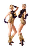 Attractive go-go girls in gold costumes on white Stock Photography