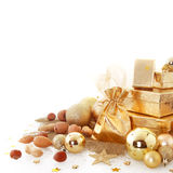 Attractive Gold Brown Christmas Decors Stock Photo