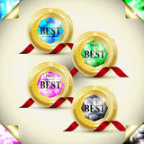 Attractive golden labels design set Stock Photos
