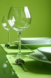 Attractive green table setting Royalty Free Stock Image
