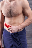 Attractive guy is caring of his skin Royalty Free Stock Images