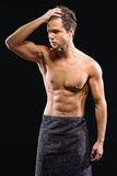 Attractive guy resting after shower Stock Photo