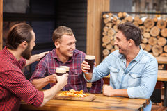 Attractive guys are enjoying alcohol drink in pub Stock Photos