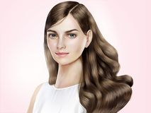Attractive hair model. Beautiful woman with shiny long hair in 3d illustration, pink background Royalty Free Stock Photos
