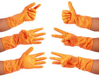Attractive hands in glove Stock Photography