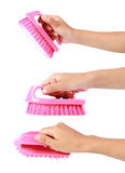 Attractive hands holding cleaning brush Royalty Free Stock Photo