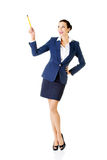 Attractive happy businesswoman with pen Royalty Free Stock Image
