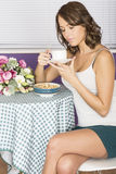 Attractive Happy Confident Young Woman Having Breakfast Drinking Coffee Stock Photography