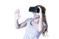 Attractive happy and excited woman using 3d goggles watching 360 virtual reality vision Stock Photos