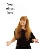 Attractive happy girl looking on object. Attractive happy girl looking on your flying object Stock Photo