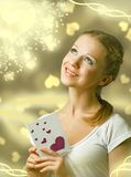 Attractive happy girl , reading valentine card Stock Photography